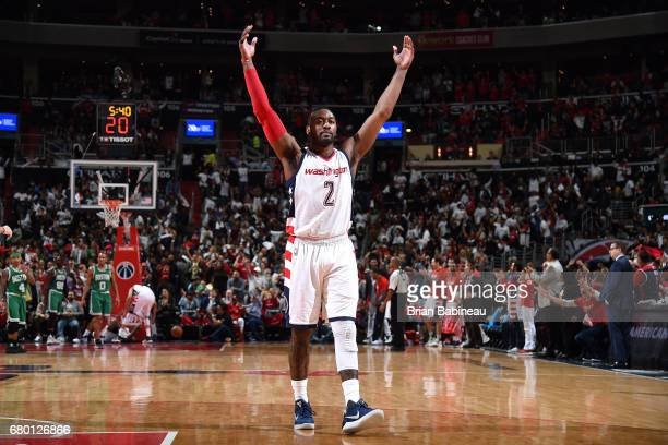 John Wall of the Washington Wizards reacts during the game against the Boston Celtics during Game Four of the Eastern Conference Semifinals of the...