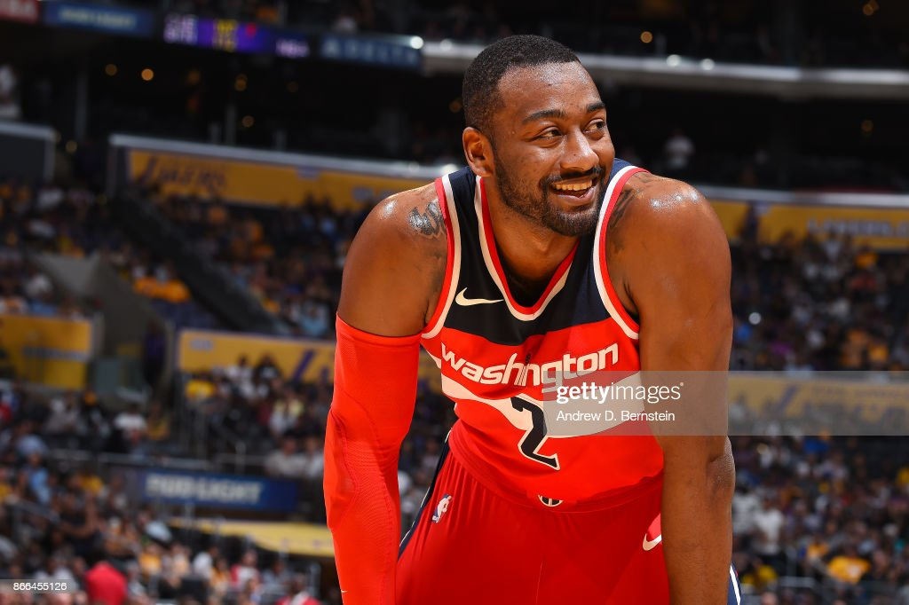 John Wall #2 of the Washington Wizards reacts during the game against the Los Angeles Lakers on October 25, 2017 at STAPLES Center in Los Angeles, California.