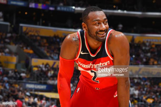 John Wall of the Washington Wizards reacts during the game against the Los Angeles Lakers on October 25 2017 at STAPLES Center in Los Angeles...