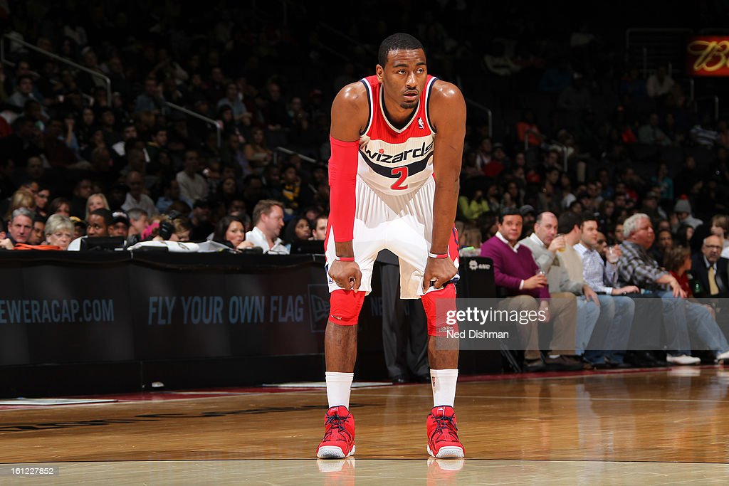 <a gi-track='captionPersonalityLinkClicked' href=/galleries/search?phrase=John+Wall&family=editorial&specificpeople=2265812 ng-click='$event.stopPropagation()'>John Wall</a> #2 of the Washington Wizards rests during a break in the action against the Atlanta Hawks during the game at the Verizon Center on January 12, 2013 in Washington, DC.