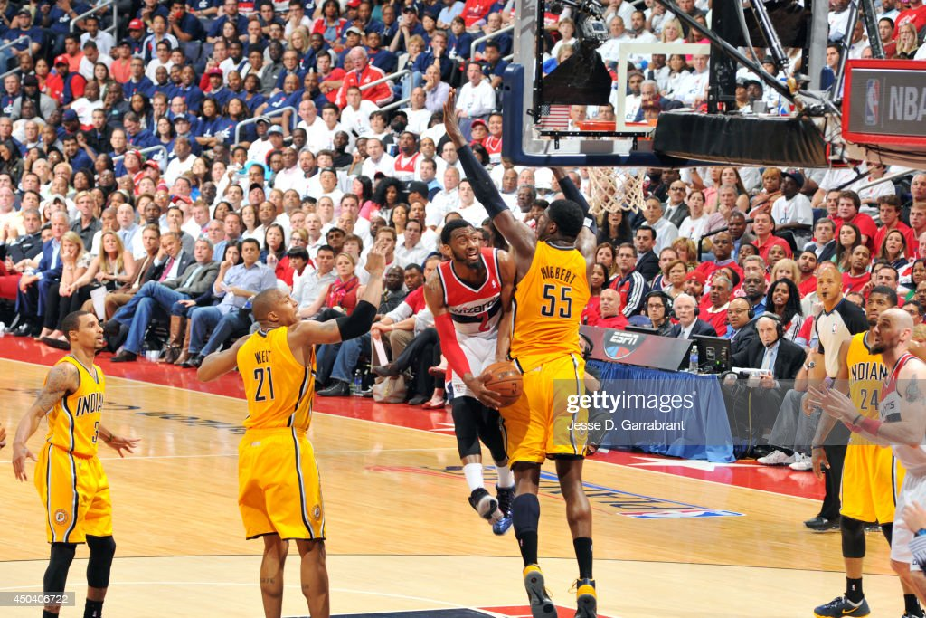 <a gi-track='captionPersonalityLinkClicked' href=/galleries/search?phrase=John+Wall&family=editorial&specificpeople=2265812 ng-click='$event.stopPropagation()'>John Wall</a> #2 of the Washington Wizards shoots against the Indiana Pacers in Game Six of the Eastern Conference Semifinals on May 15, 2014 at the Verizon Center in Washington, D.C.