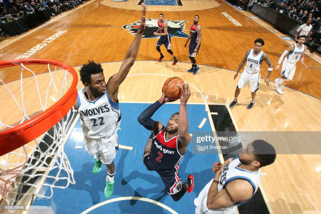 John Wall #2 of the Washington Wizards shoots the ball during a game against the Minnesota Timberwolves on March 13, 2017 at Target Center in Minneapolis, Minnesota.