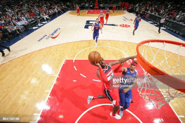 John Wall of the Washington Wizards shoots the ball during game against the Detroit Pistons on October 20 2017 at Capital One Arena in Washington DC...