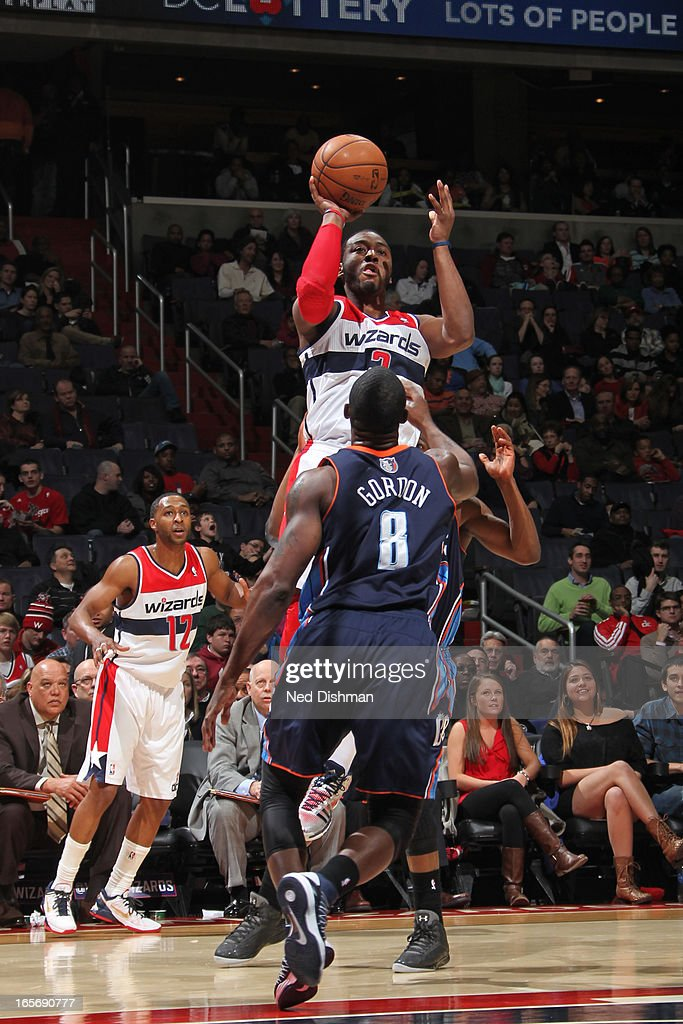 <a gi-track='captionPersonalityLinkClicked' href=/galleries/search?phrase=John+Wall&family=editorial&specificpeople=2265812 ng-click='$event.stopPropagation()'>John Wall</a> #2 of the Washington Wizards takes a shot against the Charlotte Bobcats at the Verizon Center on March 9, 2013 in Washington, DC.