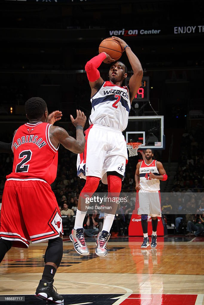 <a gi-track='captionPersonalityLinkClicked' href=/galleries/search?phrase=John+Wall&family=editorial&specificpeople=2265812 ng-click='$event.stopPropagation()'>John Wall</a> #2 of the Washington Wizards takes a shot against the Chicago Bulls at the Verizon Center on April 2, 2013 in Washington, DC.