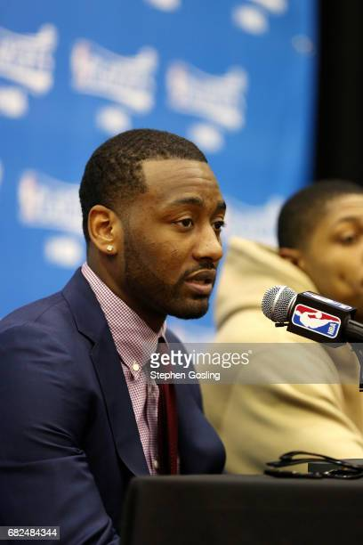 John Wall of the Washington Wizards talks with the press after the game against the Boston Celtics during Game Six of the Eastern Conference...