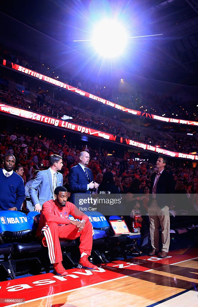 <a gi-track='captionPersonalityLinkClicked' href=/galleries/search?phrase=John+Wall&family=editorial&specificpeople=2265812 ng-click='$event.stopPropagation()'>John Wall</a> #2 of the Washington Wizards waits to be introduced before the start of the Wizards and Indiana Pacers game during Game Four of the Eastern Conference Semifinals during the 2014 NBA Playoffs at Verizon Center on May 11, 2014 in Washington, DC.