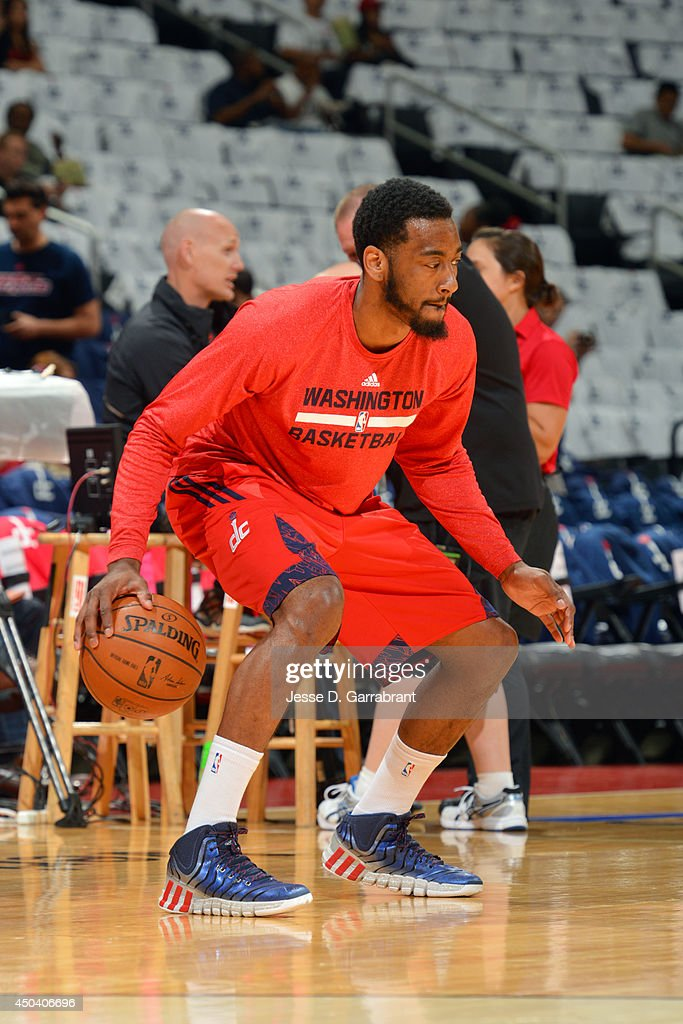 <a gi-track='captionPersonalityLinkClicked' href=/galleries/search?phrase=John+Wall&family=editorial&specificpeople=2265812 ng-click='$event.stopPropagation()'>John Wall</a> #2 of the Washington Wizards warms up before a game against the Indiana Pacers in Game Six of the Eastern Conference Semifinals during the 2014 NBA Playoffs on May 15, 2014 at the Verizon Center in Washington, DC.