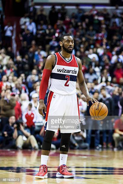 John Wall of Washington Wizard in action during an NBA game at the Verizon Center in Washington USA on January 21 2015