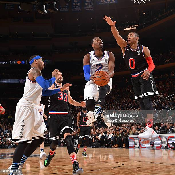 John Wall playing for the East Coast allstars goes up for the layup during the 2015 NBA AllStar Game at Madison Square Garden on February 15 2015 in...