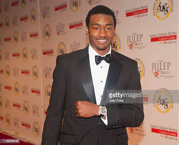 John Wall shows us his wrist watch on the red carpet during the 2011 Julep Ball during the 137th Kentucky Derby at the Galt House Hotel Suites Grand...