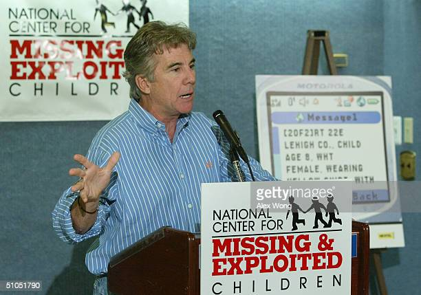 John Walsh host of TV show 'America's Most Wanted' and cofounder of the National Center for Missing Exploited Children speaks during a news...