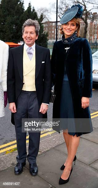 John Warren and Lady Carolyn Warren attend the wedding of Jake Warren and Zoe Stewart in the Wren Chapel at the Royal Hospital Chelsea on December 14...