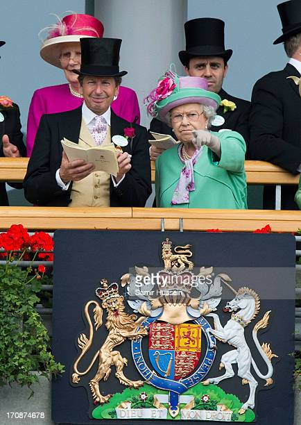 John Warren and Queen Elizabeth ll attend day 2 of Royal Ascot at Ascot Racecourse on June 19 2013 in Ascot England