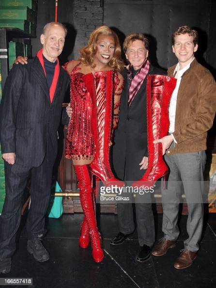 John Waters Billy Porter as 'Lola' Barry Manilow and Stark Sands as 'Charlie' pose backstage at the hit musical 'Kinky Boots' on Broadway at The Al...