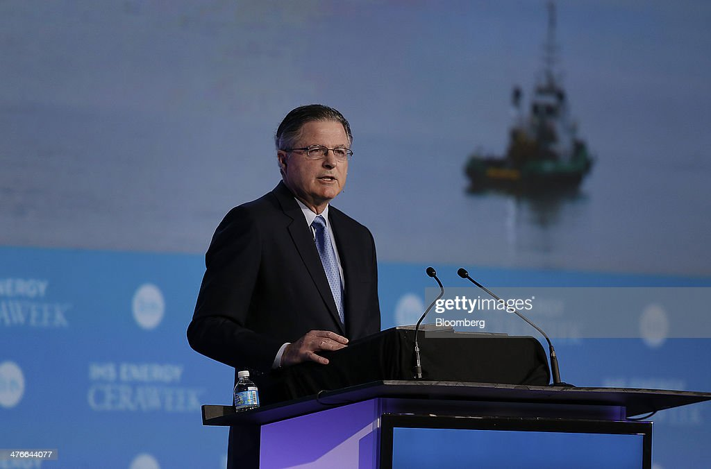 John Watson chairman and chief executive officer of Chevron Corp speaks during the 2014 IHS CERAWeek conference in Houston Texas US on Tuesday March...