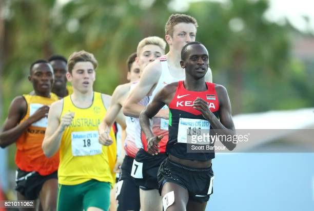 John Waweru of Kenya and Joshua Allen of England compete in the Boys 800m Final at the Athletics on day 5 of the 2017 Youth Commonwealth Games at...