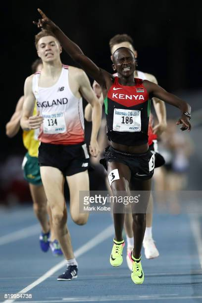 John Waweru of Kenya celebrates winning the men's 1500m Final during the Athletics on day 3 of the 2017 Youth Commonwealth Games at Thomas A Robinson...