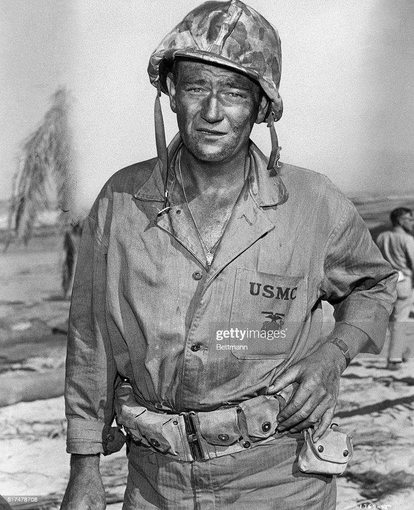 John Wayne as Sergeant John MA. Striker in a film still from the 1949 motion pictureSands of Iwo Jima.