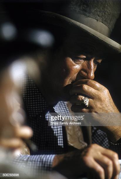 John Wayne in 1961 during the filming of 'Comancheros' in Los Angeles California