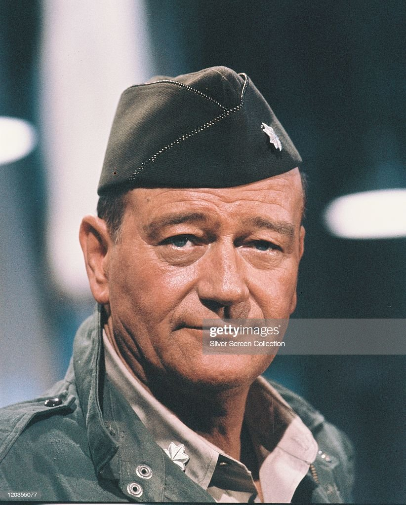 <a gi-track='captionPersonalityLinkClicked' href=/galleries/search?phrase=John+Wayne&family=editorial&specificpeople=69997 ng-click='$event.stopPropagation()'>John Wayne</a> (1907–1979), US actor, in uniform in a publicity portrait issued for the film, The Longest Day', 1962. The war film, directed by Ken Annakin (1914–2009), Andrew Marton (1904–1992), Bernhard Wicki (1919–2000) and Darryl F. Zanuck (1902–1979), starred Wayne as 'Lieutenant Colonel Benjamin Vandervoort'.