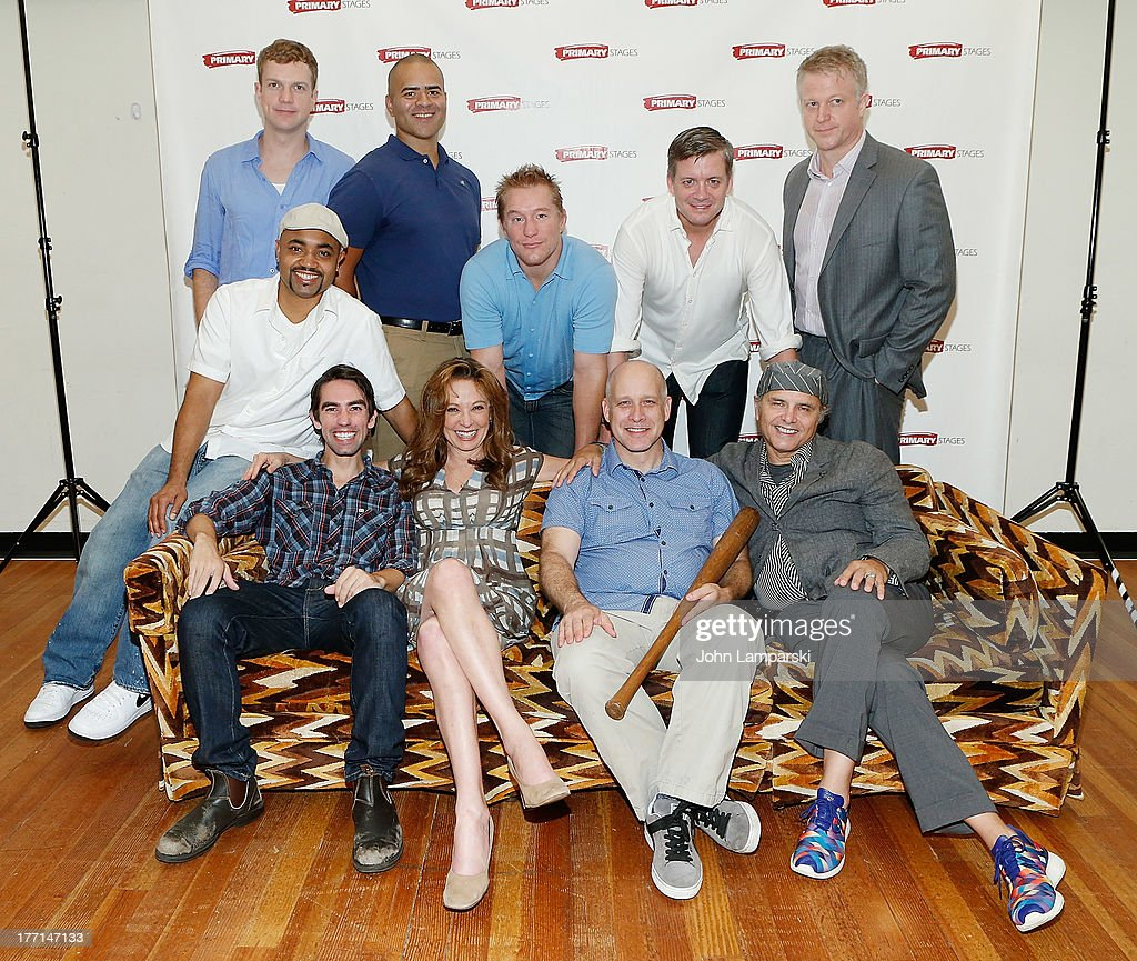 John Wernke, Christopher Jackson, Bill Dawes, Chris Henry Coffey, C.J. Wilson, (F) Francois Battiste, Keith Nobbs, Wendy Makkena, Eric Simonson and Joe Pantolino attend the cast meet and greet for the upcoming Off-Broadway production 'Bronx Bombers' at Playwrights Horizons Rehearsal Studios on August 21, 2013 in New York City.