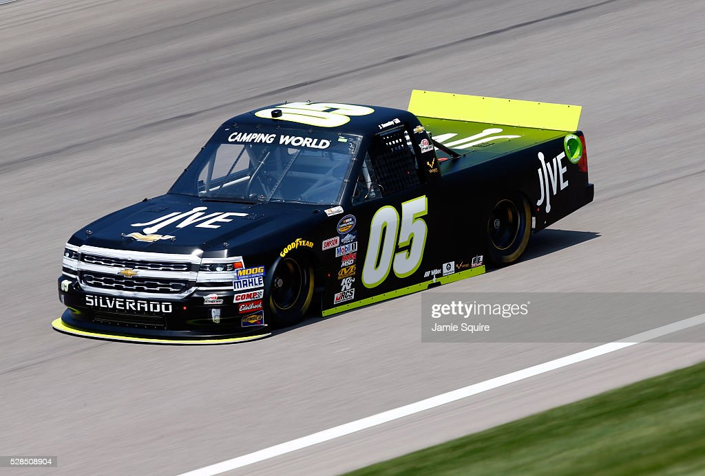 John Wes Townley, driver of the Jive Communications Chevrolet, practices for the NASCAR Camping World Truck Series 16th Annual Toyota Tundra 250 on May 05, 2016 in Kansas City, Kansas.