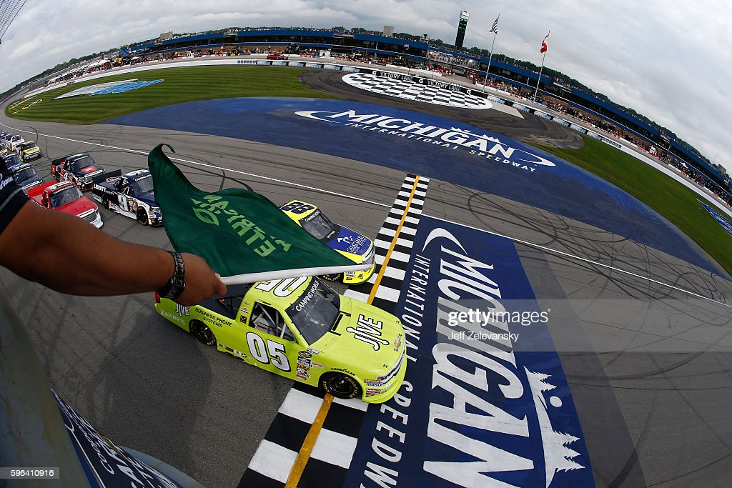 John Wes Townley driver of the Jive Communications/Zaxby's Chevrolet and Matt Crafton driver of the Great Lakes Flooring/Menards Toyota leading the...