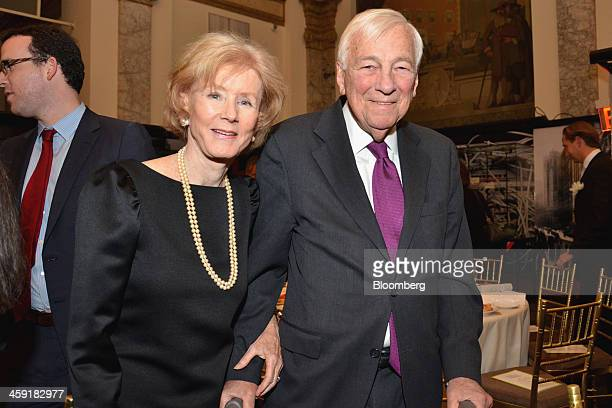 John Whitehead former chairman of Goldman Sachs Co right and his wife Cynthia Whitehead attend a Museum of American Finance gala in New York US on...