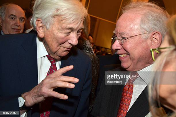 John Whitehead former cochairman of Goldman Sachs Group Inc from left and Kirkpatrick MacDonald managing partner at MacDonald Cie converse at a gala...
