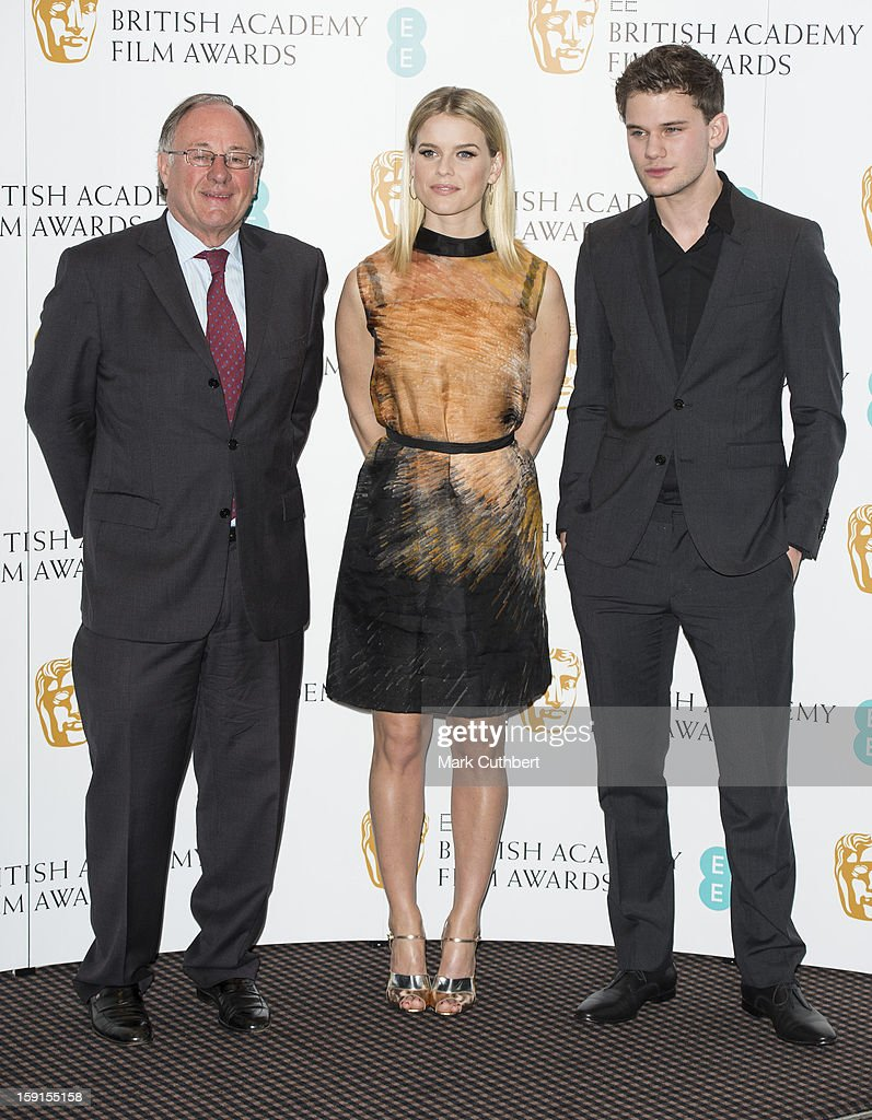 John Willis Chairman of The Acadamy, Jeremy Irvine and Alice Eve attend as the nominations for the EE British Academy Film Awards are announced on January 9, 2013 in London, England.