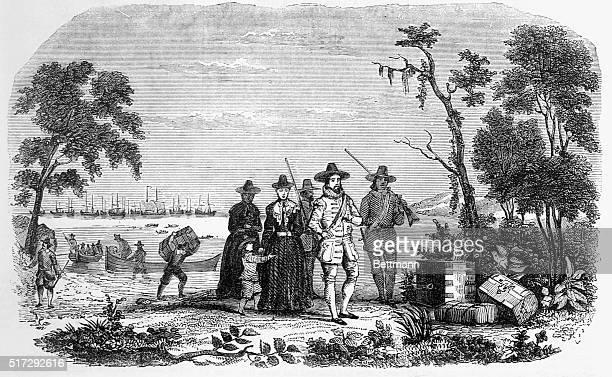 John Winthrop comes ashore in Salem Massachusetts Winthrop led the Massachusetts Bay Company that settled the Massachusetts area for England Under...