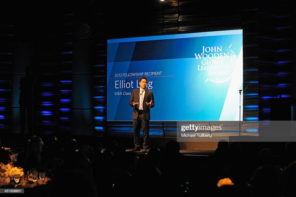 John Wooden Fellowship Recipient Elliot Ling speaks at the 2013 John Wooden Global Leadership Awards hosted by the UCLA Anderson School of Management at The Beverly Hilton Hotel on November 21, 2013 in Beverly Hills, California.