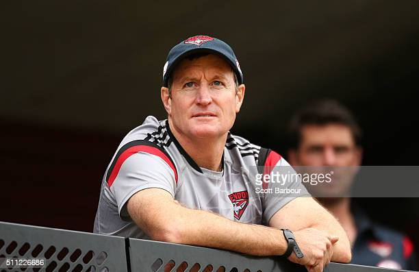 John Worsfold coach of the Bombers looks on during the Essendon Bombers AFL IntraClub match at True Value Solar Centre on February 19 2016 in...