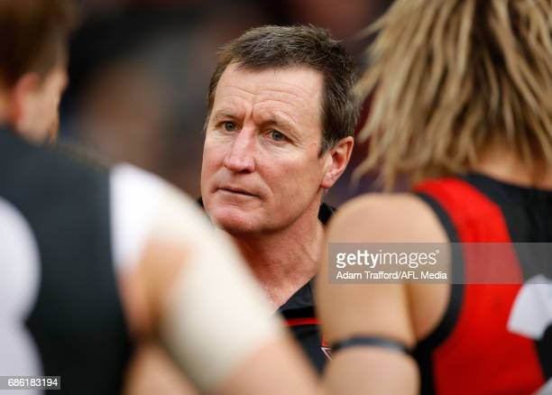 John Worsfold Senior Coach of the Bombers addresses his players during the 2017 AFL round 09 match between the Essendon Bombers and the West Coast...