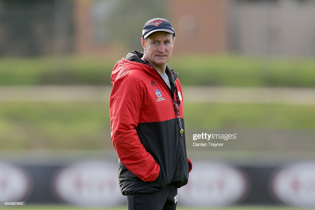 <a gi-track='captionPersonalityLinkClicked' href=/galleries/search?phrase=John+Worsfold&family=editorial&specificpeople=196525 ng-click='$event.stopPropagation()'>John Worsfold</a>, Senior Coach of the Bombers looks on during an Essendon Bombers AFL training session at True Value Solar Centre on May 27, 2016 in Melbourne, Australia.