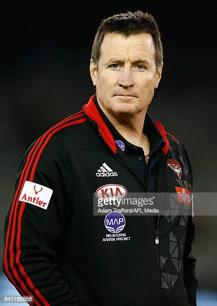 John Worsfold Senior Coach of the Bombers looks on during the 2016 AFL Round 13 match between the Essendon Bombers and the GWS Giants at Etihad...