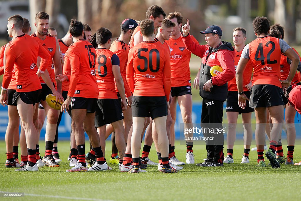 <a gi-track='captionPersonalityLinkClicked' href=/galleries/search?phrase=John+Worsfold&family=editorial&specificpeople=196525 ng-click='$event.stopPropagation()'>John Worsfold</a>, Senior Coach of the Bombers speaks to his players during an Essendon Bombers AFL training session at True Value Solar Centre on May 27, 2016 in Melbourne, Australia.
