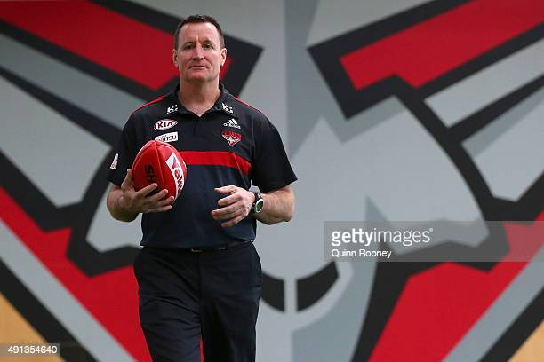 John Worsfold the new coach of the Bombers poses during an Essendon Bombers AFL press conference at True Value Solar Centre on October 5 2015 in...