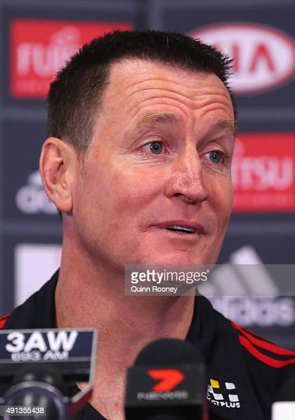 John Worsfold the new coach of the Bombers speaks to the media during an Essendon Bombers AFL press conference at True Value Solar Centre on October...