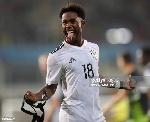 John Yeboah of Germany celebrates after winning the FIFA U17 World Cup India 2017 group C match between Germany and Costa Rica at Pandit Jawaharlal...