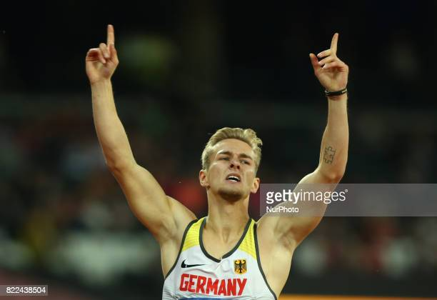 Johnannes Floors of Germany celebrate his win Men's 400m T43 Final during World Para Athletics Championships Day Three at London Stadium in London on...