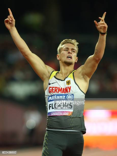 Johnannes Floors of Germany celebrate his winMen's 400m T43 Final during World Para Athletics Championships Day Three at London Stadium in London on...