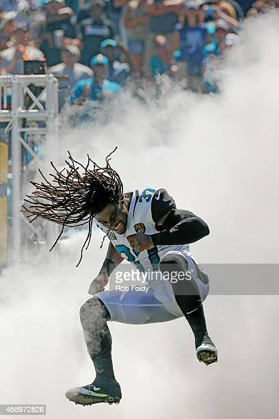 Johnathan Cyprien of the Jacksonville Jaguars runs onto the field before the game against the Indianapolis Colts at EverBank Field on September 21...