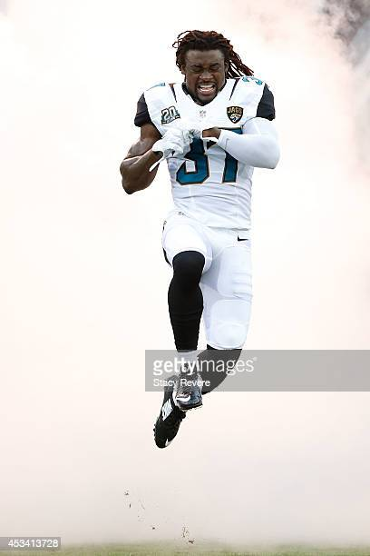 Johnathan Cyprien of the Jacksonville Jaguars takes the field prior to a preseason game against the Tampa Bay Buccaneers at EverBank Field on August...
