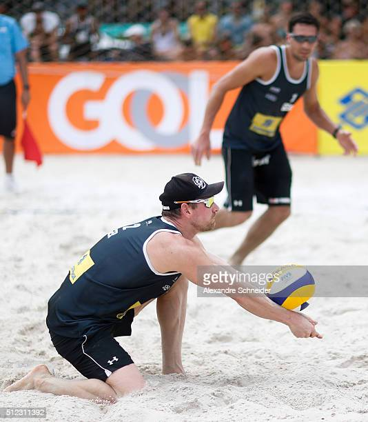 Johnathan Erdmann of Germany competes in the main draw match against Chile at Pajucara beach during day three of the FIVB Beach Volleyball World Tour...