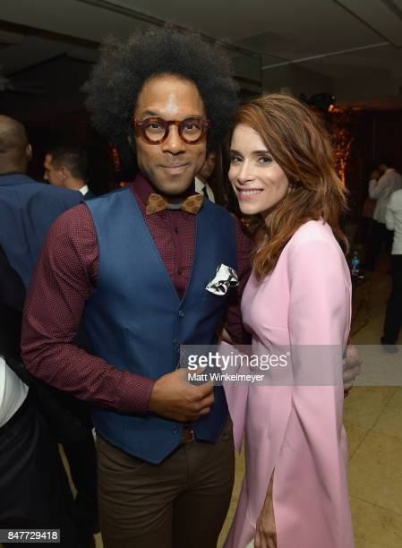 Johnathan Fernandez and Abigail Spencer attend the 2017 Entertainment Weekly PreEmmy Party at Sunset Tower on September 15 2017 in West Hollywood...