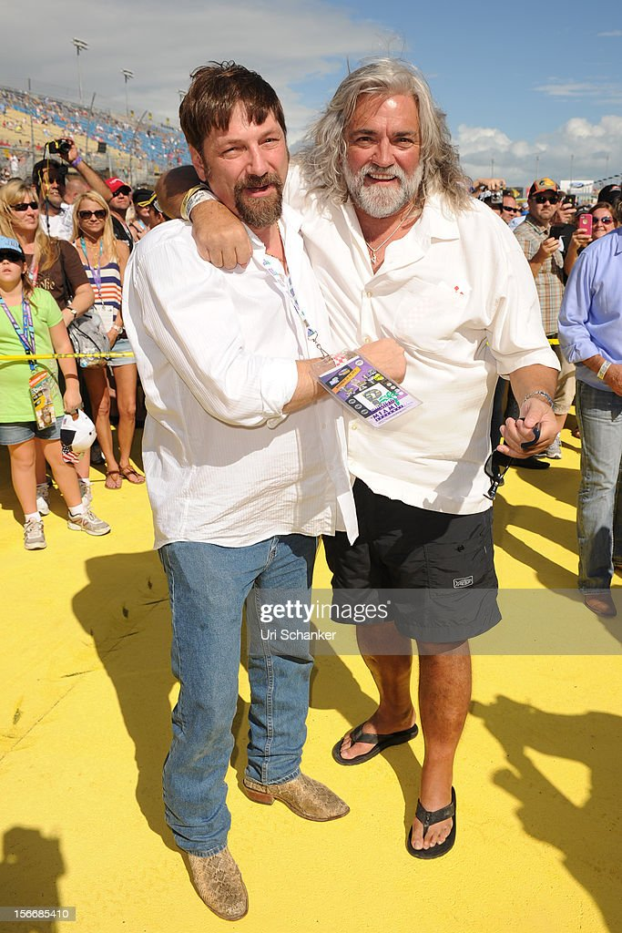Johnathan Hillstrand and Captain 'Wild' Bill Wichrowski are sighted at the NASCAR Sprint Cup Series Ford Ecoboost 400 at Homestead-Miami Speedway on November 18, 2012 in Homestead, Florida.