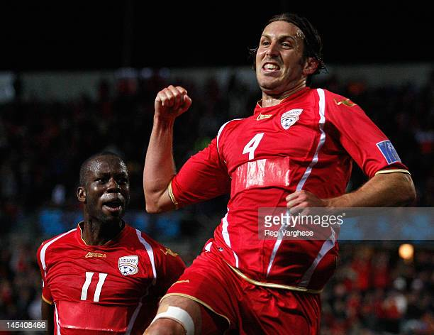 Johnathan McKain celebrates scoring the opening goal for Adelaide United during the AFC Asian Champions League match between Adelaide United and...