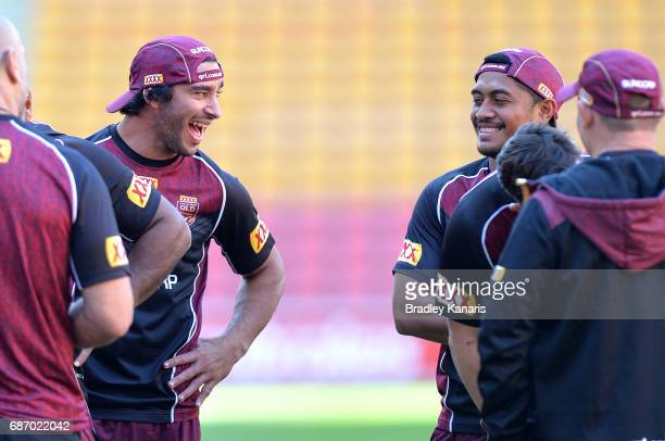 Johnathan Thurston and Anthony Milford share a laugh during a Queensland Maroons State of Origin training session at Suncorp Stadium on May 23 2017...